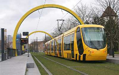 Mulhouse Tram Line 2 at Tour Nessel