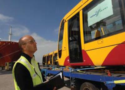 The first of five Citadis trams arrive in Melbourne - photo from Tramlines brochure