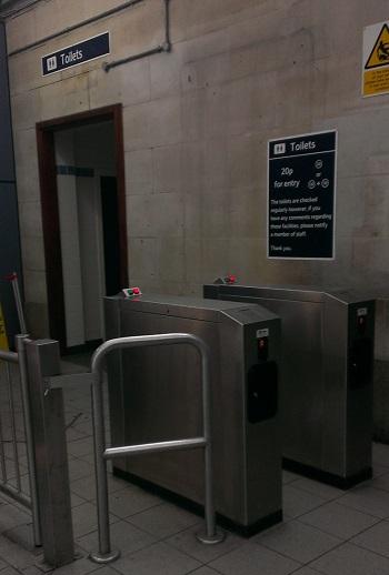 Washroom at Wimbledon station on District Line
